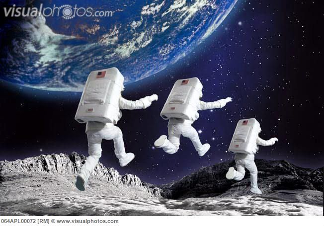 jumping astronaut in space - photo #1